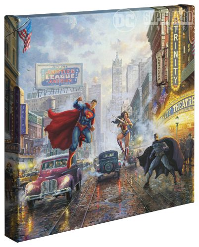 "Batman, Superman, Wonder Woman - 14"" x 14"" Gallery Wrapped Canvas"