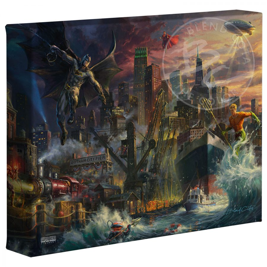 "Justice League Showdown at Gotham City Pier - 8"" x 10"" Canvas Gallery Wrap"