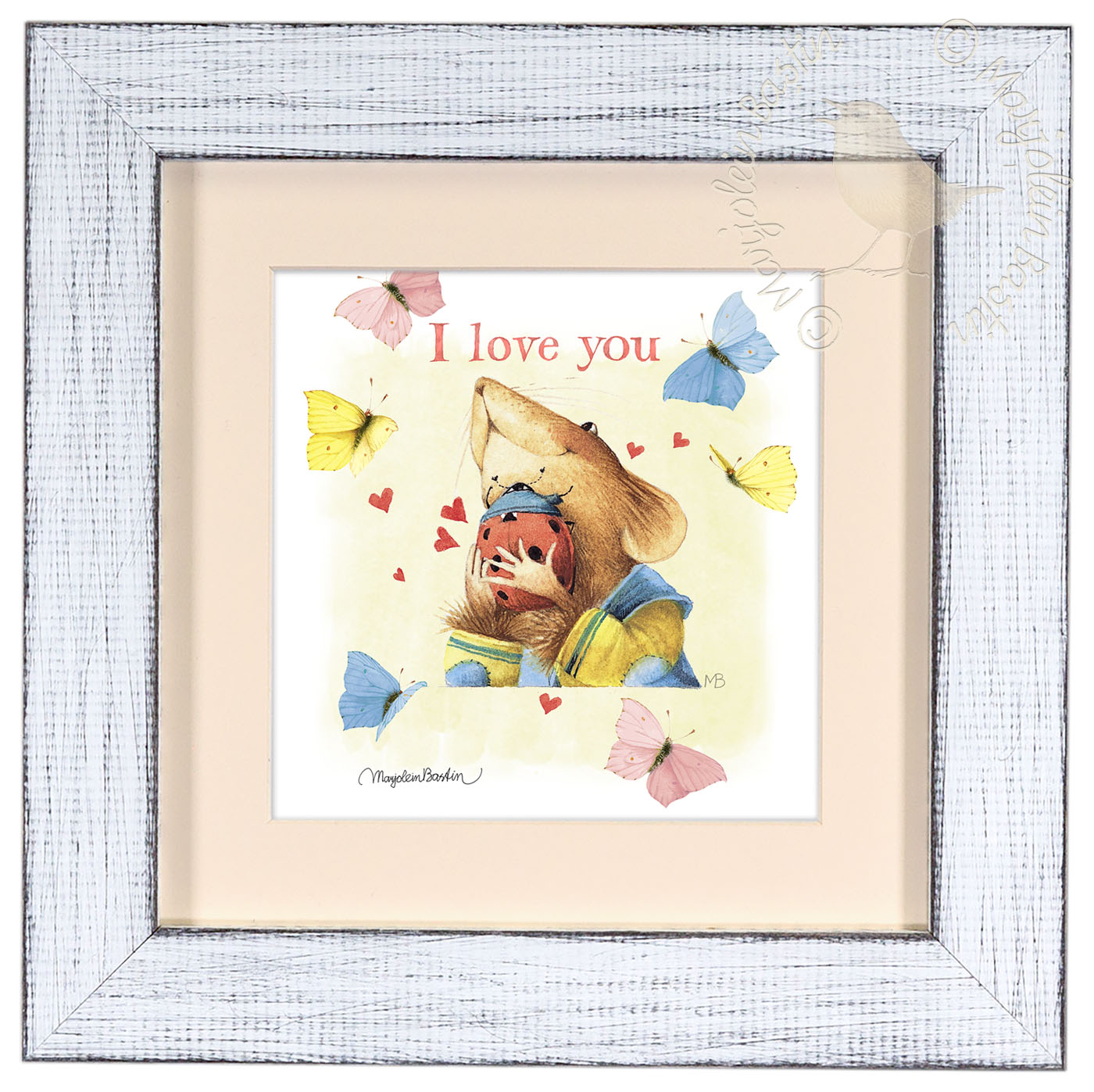 I love you Ladybug – 9″ x 9″ Framed Prints (Daisy White Frame ...