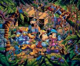 Mickey and Friends Exploring the Jungle - Limited Edition Canvas