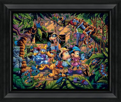 "Mickey and Friends Exploring the Jungle - 19"" x 22.5"" Framed Canvas Prints"