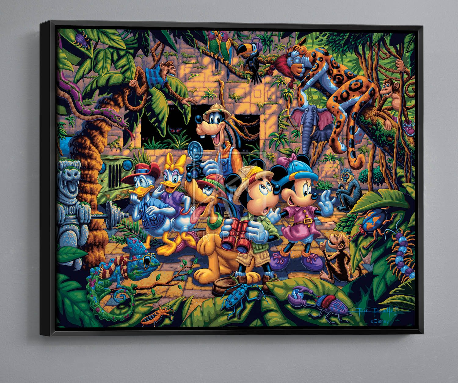 "Mickey and Friends Exploring the Jungle - 30"" x 37"" Canvas Wall Murals"
