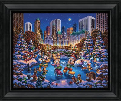 "Mickey and Friends Skating in Central Park - 19"" x 22.5"" Framed Canvas Prints"