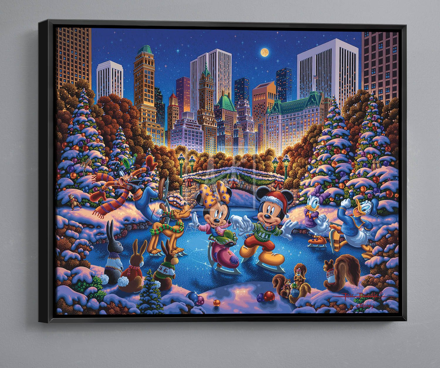 """Mickey and Friends Skating in Central Park - 30"""" x 37"""" Canvas Wall Murals"""