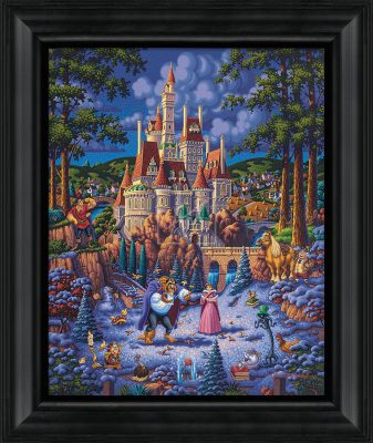 "Beauty and the Beast Finding Love - 19"" x 22.5"" Framed Canvas Prints"